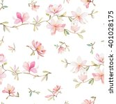 seamless watercolor floral... | Shutterstock .eps vector #401028175