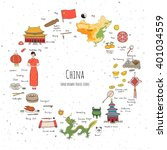 hand drawn doodle china icons... | Shutterstock .eps vector #401034559