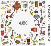 hand drawn doodle music set... | Shutterstock .eps vector #401034601