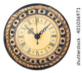 old antique clock isolated on ... | Shutterstock . vector #401036971