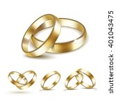 vector set of gold wedding... | Shutterstock .eps vector #401043475