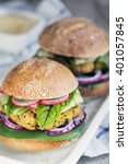 two vegetarian burger...