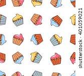 vector seamless cupcake pattern.