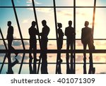 businesspeople silhouettes... | Shutterstock . vector #401071309
