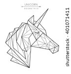 geometric unicorn head. tattoo  ... | Shutterstock .eps vector #401071411