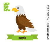 eagle. e letter. cute children... | Shutterstock .eps vector #401072119