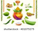happy ugadi. set holiday... | Shutterstock .eps vector #401075275