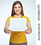 smiling woman holding white... | Shutterstock . vector #401080195