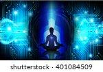 man meditate dark blue abstract ...   Shutterstock . vector #401084509