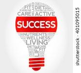 success bulb word cloud  health ... | Shutterstock . vector #401095015