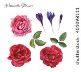 flowers set of hand drawn... | Shutterstock . vector #401098111