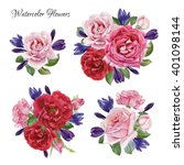Stock photo bouquet of roses and crocuses hand drawn watercolor flowers set 401098144