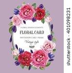 vintage floral greeting card... | Shutterstock . vector #401098231