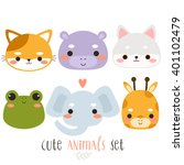 set of six illustration of cute ... | Shutterstock .eps vector #401102479