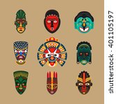 ethnic mask icons or inca flat... | Shutterstock .eps vector #401105197