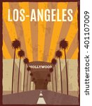 los angeles retro poster. los ... | Shutterstock .eps vector #401107009