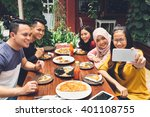 group of friends taking selfie... | Shutterstock . vector #401108755