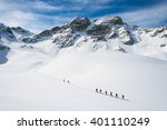 group of climbers roped to the... | Shutterstock . vector #401110249