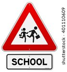 single isolated school warning... | Shutterstock .eps vector #401110609