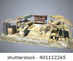ancient old marketplace  3d... | Shutterstock . vector #401112265