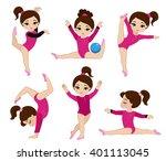 gymnastics cute girls set.... | Shutterstock .eps vector #401113045