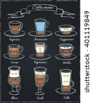 poster of different  coffee in... | Shutterstock .eps vector #401119849
