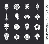 flower icons set. modern thin... | Shutterstock . vector #401125129