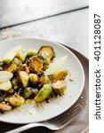 homemade grilled brussel... | Shutterstock . vector #401128087