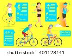 people who exercise outdoors in ... | Shutterstock .eps vector #401128141