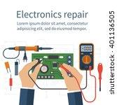electronics repair. tester... | Shutterstock .eps vector #401136505