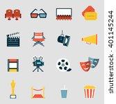 cinema icons flat. making film...   Shutterstock .eps vector #401145244