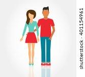 women and men in love  young... | Shutterstock .eps vector #401154961