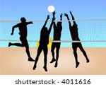 boys play volleyball on sand | Shutterstock .eps vector #4011616