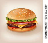 delicious burger with juicy... | Shutterstock .eps vector #401169589