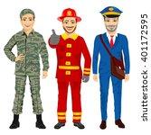soldier  fireman and postman... | Shutterstock .eps vector #401172595