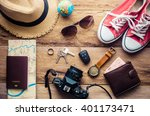 travel accessories for trip | Shutterstock . vector #401173471