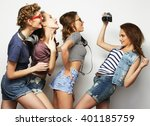 happy girls friends taking some ... | Shutterstock . vector #401185759