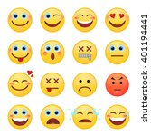 set of emotional face on a... | Shutterstock .eps vector #401194441