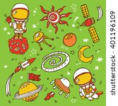 doodle space collection. set of ... | Shutterstock .eps vector #401196109