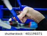 loser of fight boxer on ropes... | Shutterstock . vector #401198371