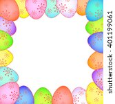 easter card with painted eggs... | Shutterstock .eps vector #401199061