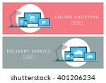 set of flat design concepts of... | Shutterstock .eps vector #401206234