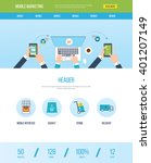 one page web design template... | Shutterstock .eps vector #401207149