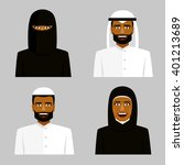 arab man and woman in hijab.... | Shutterstock .eps vector #401213689