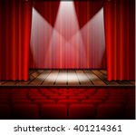 theater stage with a red curtain | Shutterstock . vector #401214361