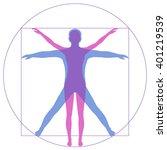 leonardo da vinci vetruvian man ... | Shutterstock .eps vector #401219539