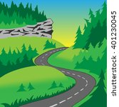 the road in the hills covered... | Shutterstock .eps vector #401230045