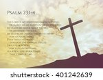 Small photo of Psalm 23:1-4 Vintage Bible Verse Background on one cross on a hill
