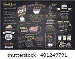 chalk menu list blackboard... | Shutterstock .eps vector #401249791