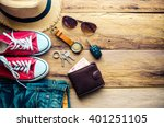 travel clothing accessories... | Shutterstock . vector #401251105